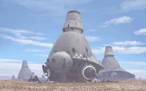 Картинка пустыня, сооружения, warmachines