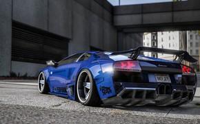 Картинка город, улица, Lamborghini, вид сзади, GTA, Grand Theft Auto V