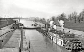 Картинка пейзаж, мост, ретро, корабль, пароход, канал, США, 1903-й год
