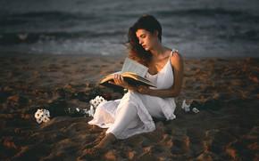 Картинка песок, девушка, книга, Ana Valenciano