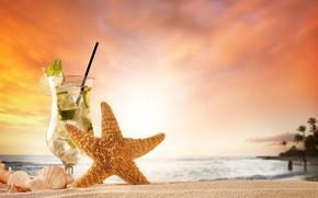 Обои закат, лето, starfish, summer, каникулы, песок, sand, море, пляж, ракушки, seashells, mojito, beach, vacation