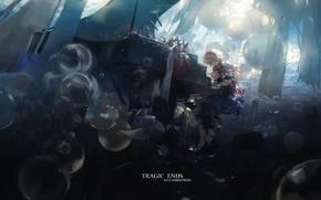 Картинка воздушные шары, рояль, сидит, touhou, лучи света, art, голубое платье, Alice Margatroid, Touhou Project, Hourai