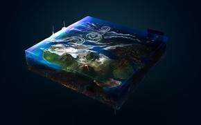 Картинка космос, Планета, Картина, куб, Рисовка, дигитал