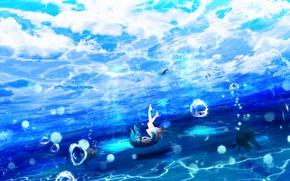 Картинка небо, девушка, рыбы, арт, под водой, Y_Y