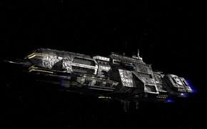 Картинка космос, звёзды, космический корабль, 3д графика