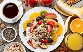 Обои мюсли, кофе, завтрак, фрукты, овсяные хлопья, орехи, ягоды