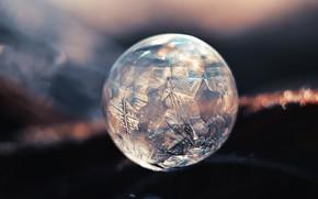 Обои лед, шар, мороз