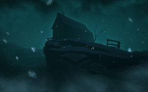 Картинка Ночь, Дом, House, Night, Hinterland Studio, The Long Dark, Indie game