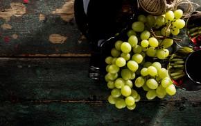 Картинка вино, бутылка, бокалы, виноград, гроздь