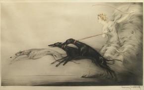 Картинка собаки, Скорость, 1927, Louis Icart