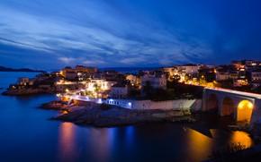Картинка ночь, огни, Франция, Марсель
