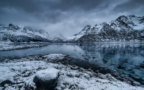 Картинка Norway, Nordland, Vestpollen, Icy Fjord