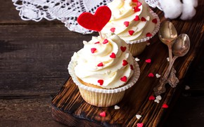 Картинка сердечки, пирожное, крем