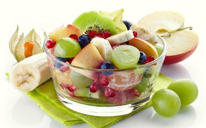 Картинка ягоды, яблоко, киви, черника, виноград, белый фон, ваза, фрукты, банан, дольки, гранат, салат, салфетки