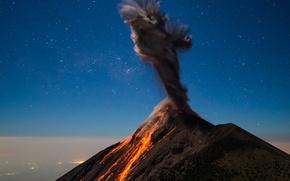 Картинка небо, ночь, дым, вулкан, лава