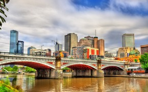 Обои город, здание, мост, река, австралия