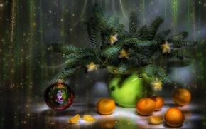Картинка новый год, натюрморт, мандарины