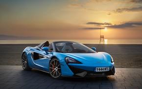 Обои море, закат, McLaren, кабриолет, голубая, Spider, 570S