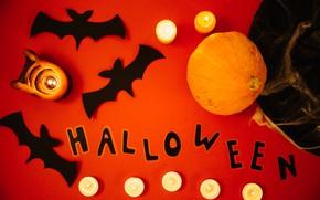 Картинка праздник, надпись, шляпа, свечи, тыква, хэллоуин
