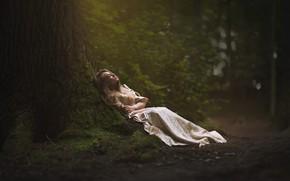 Картинка лес, девушка, дерево, отдых, платье, Marketa Novak, In forest