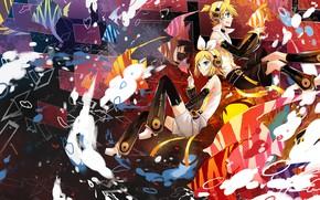 Картинка аниме, двое, Vocaloid, Вокалоид
