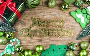 Картинка праздник, надпись, рождество, подарки, декор