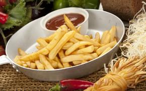 Картинка сыр, соус, кетчуп, картофель фри