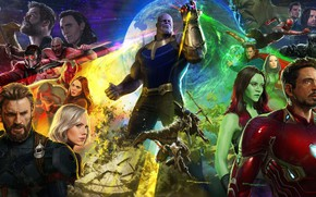 Обои Don Cheadle, Chris Evans, Mark Ruffalo, Zoe Saldana, Tom Hiddleston, Scarlett Johansson, Josh Brolin, Avengers: ...