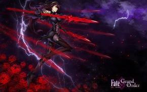 Обои оружие, цветы, молния, арт, аниме, копье, fate/grand order, девушка, облака, kause, небо, звезды, scathach