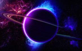 Картинка космос, планета, кольцо, space