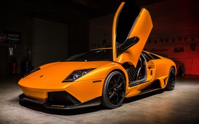 Картинка Lamborghini, Orange, Supercar, Garage, Murciélago
