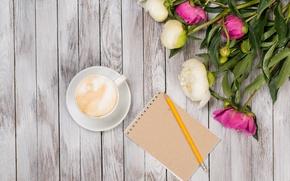 Картинка кофе, white, бутоны, pink, flowers, romantic, пионы, peonies, valentine`s day
