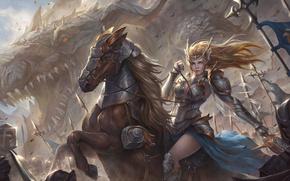 Картинка girl, fantasy, soldiers, armor, Warrior, army, dragon, flag, battle, horse, artwork, fantasy art, banner, lance