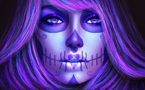 Обои взгляд, арт, sugar skull, лицо, catrina, dia de los muertos, волосы, девушка