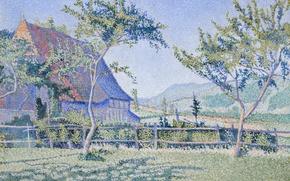 Картинка пейзаж, дом, картина, Поль Синьяк, пуантилизм, Замок Комблат. Луг
