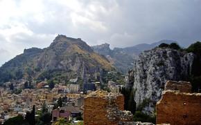 Картинка горы, дома, Италия, руины, Сицилия, Таормина