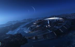 Картинка планеты, сооружение, stranded, k11, Generation ship Arrival