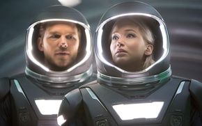 Обои cinema, space, girl, Aurora, woman, spaceship, man, movie, blonde, film, Jennifer Lawrence, space suit, Chris ...