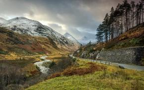 Картинка дорога, облака, деревья, горы, река, Шотландия