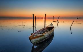 Обои ночь, лодка, озеро