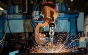 Обои precision, sparks, Robotic welding