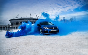 Картинка car, машина, авто, city, тачка, автомобиль, cars, auto, golf, smoke, bridge, blue, golf r, revo, …