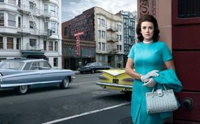 Картинка авто, город, ретро, женщина, Cadillac, Chevrolet, Impala, Stories