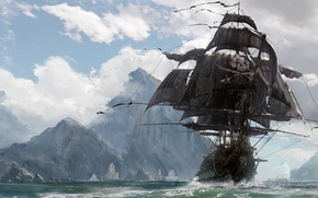 Обои kaizoku, Skull and Bones, evil, ken, sword, blade, ship, island, pirate, game, skull, pirate ship