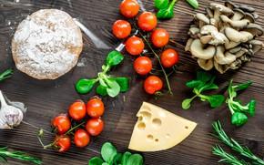 Картинка зелень, грибы, сыр, томат, чеснок, тесто, заготовки