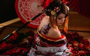 Обои стиль, интерьер, тату, модель, зонт, Япония, азиатка