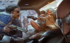 Обои очки, арт, Lorraine Broughton, банда, бандиты, девушка, Atomic Blonde, убийца, Charlize Theron, пистолет