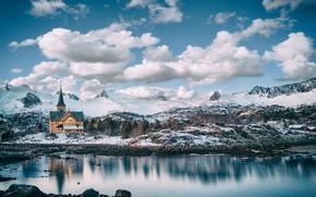 Обои Норвегия, церковь, Lofoten