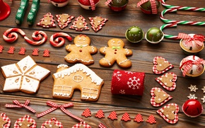 Картинка christmas, merry christmas, cookies, decoration, gingerbread