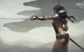 Обои dragon, artwork, painting, digital art, fantasy art, fantasy girl, girl, sword, Warrior, weapon, armor, fantasy
